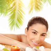 Happy woman at spa — Stock Photo