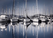 Sail boat harbor in evening — Stock Photo