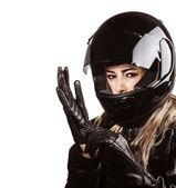 Kadın giyiyor motorsport kıyafeti — Stok fotoğraf