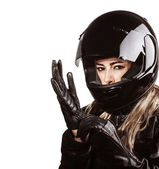 Woman wearing motorsport outfit — Stock Photo