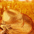 Straw hat on wheat field — Stock Photo