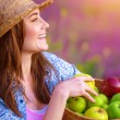 Happy woman with apples basket — Stock Photo