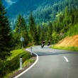 Stock Photo: Group of motorcyclists in Alpine mountains
