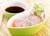 Tasty sushi with soy sauce — Stock Photo
