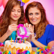 Girl with mother celebrate birthday — Stock Photo