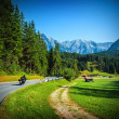 Bikers on mountainous road — Stock Photo