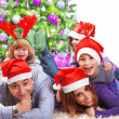 Happy family celebrating Christmas — 图库照片