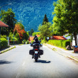 Stock Photo: Motorcyclist touring along Austria