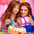 Mom with daughter celebrate birthday — Stock Photo