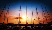 Sailboats on sunset — Stock Photo