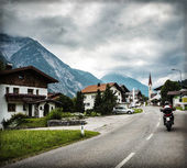 Biker touring Europe — Stock Photo