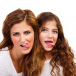 Mother with daughter play the ape — Foto Stock