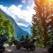 Biker resting in the mountains — Stock Photo