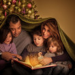 Big family in Christmas eve — Stockfoto