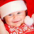 Newborn baby on Christmas eve — Stock Photo