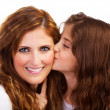 Daughter kissing mother — Stockfoto