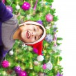 Happy boy wearing Santa hat — Stock Photo