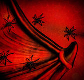 Spiders on red Halloween background — Stock Photo