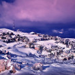 Wintertime village landscape — Stock Photo
