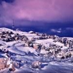 Wintertime village landscape — Stock Photo