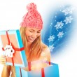 Stock Photo: Receive Christmas present