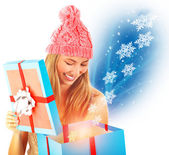 Receive Christmas present — Stock Photo