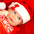 Newborn baby wearing Christmas costume — Stock Photo