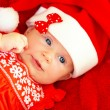 Stock Photo: Newborn baby wearing Christmas costume
