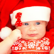 Newborn baby wearing Christmas costume — Stock Photo #35517909