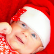 Newborn girl on Christmastime — Stock Photo