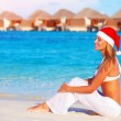 Christmas celebration on Maldive island — Stock Photo
