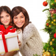Happy mother and daughter on Xmas eve — Stok fotoğraf