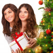 Receive Christmas gift — Stock Photo