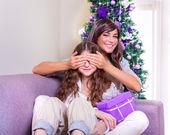 Receive Christmas present — Stock Photo