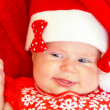 Sweet newborn baby on Christmastime — Stock Photo #35942415