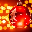 Red Christmas tree bauble — Stock Photo