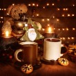 Christmas coffee with cookies — Stockfoto