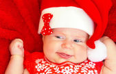 Sweet newborn baby on Christmastime — Stock Photo