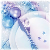 Christmastime silverware — Stock Photo