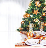 Christmas dinner border — Stock Photo