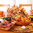 Festive Thanksgiving day dinner — Stock Photo