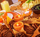 Thanksgiving day table decor — Стоковое фото