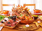 Festive Thanksgiving day dinner — Foto de Stock