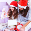 Christmas joy at family home — Foto Stock