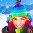 Woman on winter holidays — Stock Photo