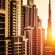 Dubai downtown in sunset — Stock Photo