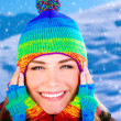 Cheerful girl in winter park — Stock Photo