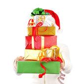 Santa Mädchen mit vielen Geschenken — Stockfoto