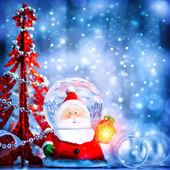 Cute snow globe Santa — Stock Photo