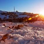 Mountainous village in sunset — Stock Photo